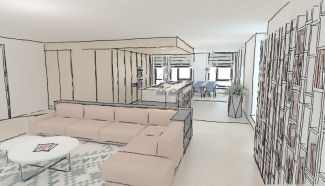 Interieur design Ontwerpschets